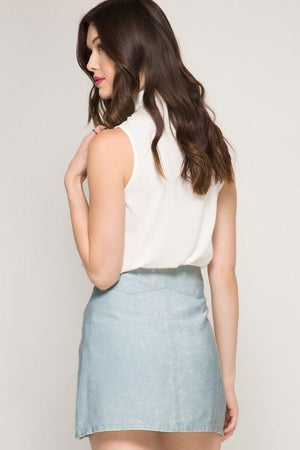 Light Blue Stonewashed Mini Skirt (final sale)