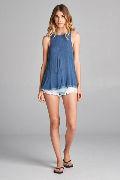 Blue Deep V Loose Fit Tank (final sale)