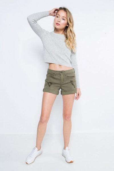 Olive Distressed Cuff Boyfriend Shorts (final sale)