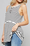 Black Stripe Ruffle Tunic (final sale)
