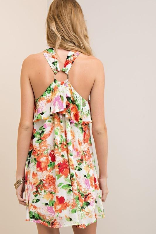 Coral Ruffle Floral Brass Ring Dress (final sale)