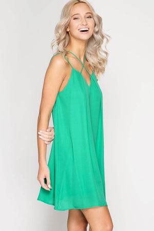 Green Strappy Cross Front Shift Dress (final sale)