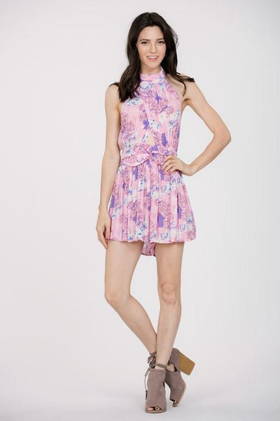 Pink Floral Halter Cut Out Romper (final sale)