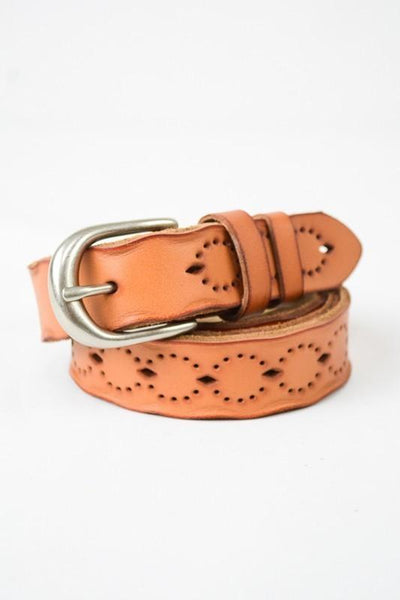 Camel Bohemian Punched Out Buckle Belt