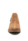 Tan Perforated Ankle Bootie