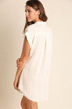 Ivory Dye Washed Button Up Tunic