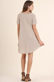 Grey Stripe Pocket Tee Dress