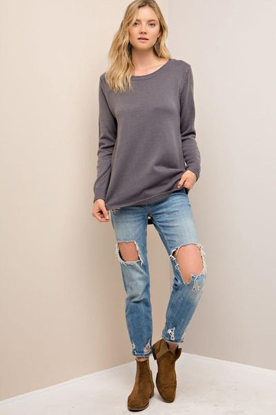 Charcoal Ribbed Knit Cut Out Back Sweater