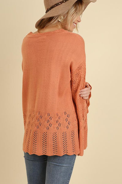 Rust Crochet Detail Bell Sleeve Sweater (final sale)