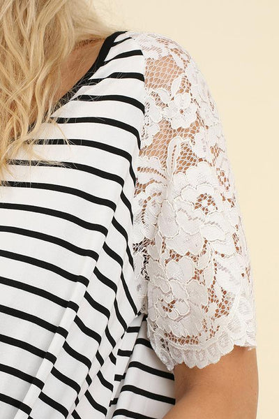 White Stripe Lace Sleeve Top