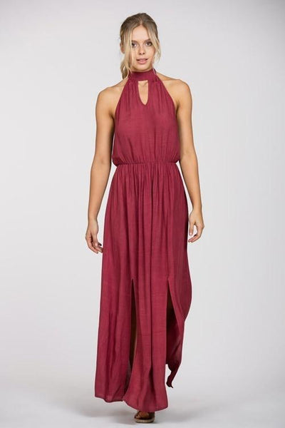 Dark Red Halter Maxi Dress (final sale)