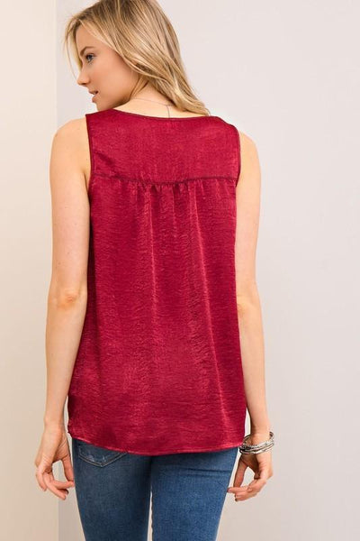 Burgundy Front Knot Silk Top (final sale)