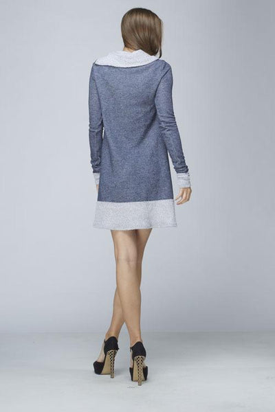 Blue Folded Neck French Terry Tunic