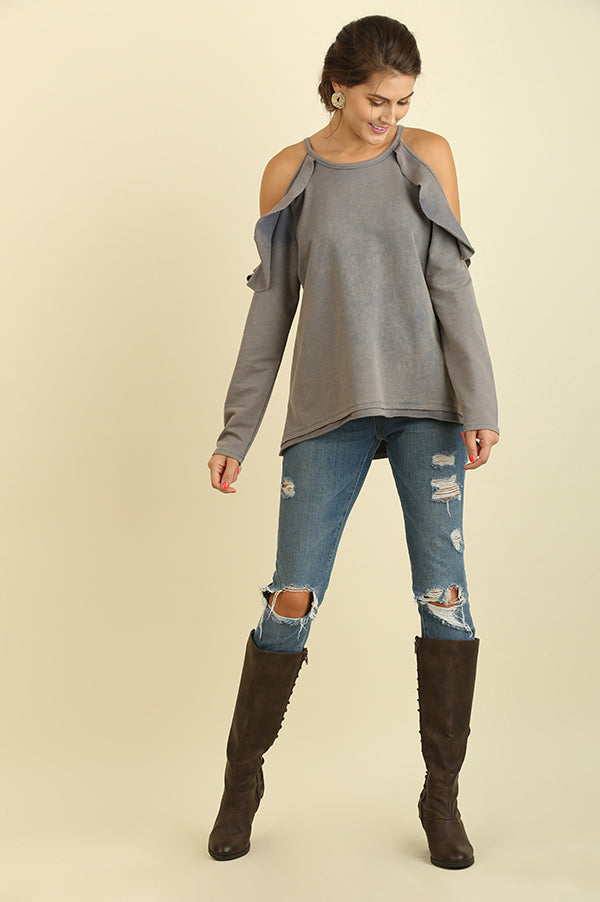 Grey Washed Ruffle Open Shoulder Top