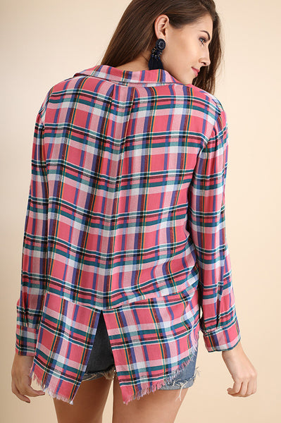 Pink Plaid Raw Hem Button Down