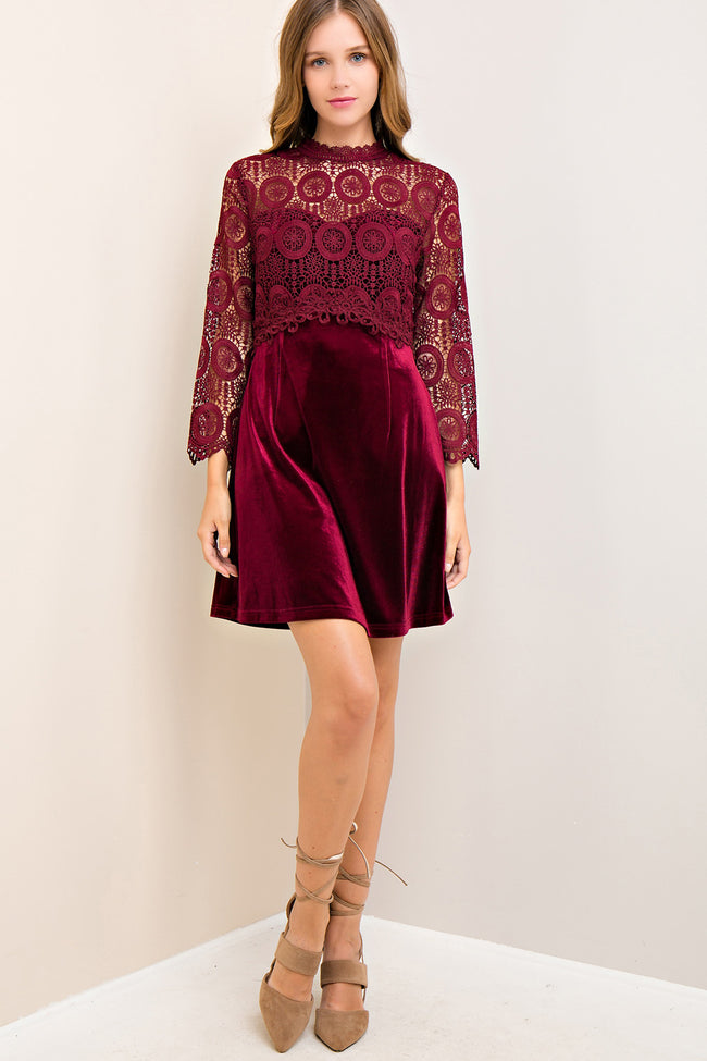 Burgundy Velvet Lace A-Line Dress