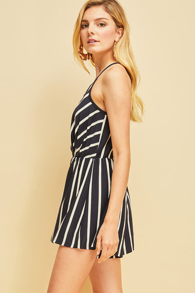 Navy Striped Surplice Romper