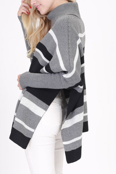 Grey Striped Side Slit Poncho Sweater (final sale)