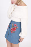 Denim Rose Embroidered Mini Skirt (final sale)
