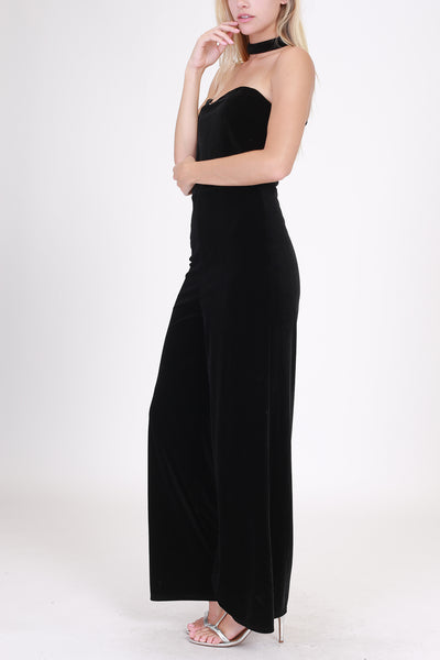 Black Velvet Sweetheart Choker Jumpsuit (final sale)