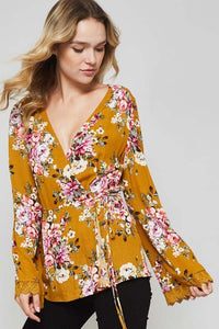 Mustard Floral Wrap Top (final sale)
