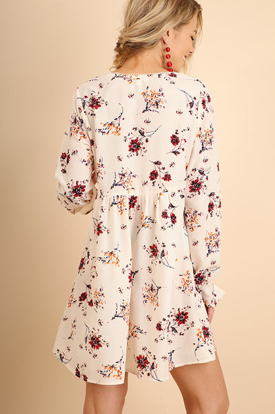 Cream Floral V-Neck Ruffle Sleeve Dress (final sale)