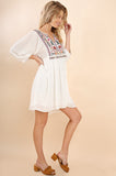 White Embroidered Tassel Babydoll Dress (final sale)