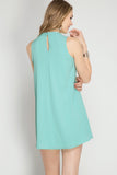 Mint High Neck Keyhole Shift Dress