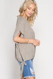 Oatmeal Drop Shoulder Keyhole Top