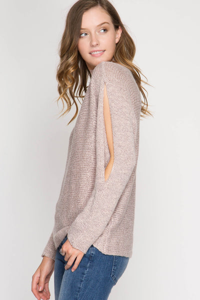 Rose Open Shoulder Batwing Sweater