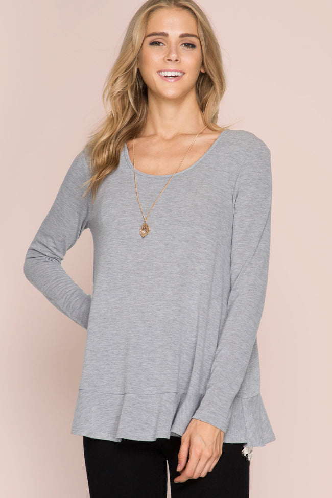 Grey Long Sleeve Lace Ruffle Back Top