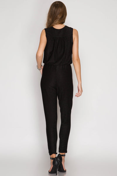 Metallic Black Sleeveless Jumpsuit (final sale)