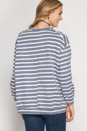 Navy Striped French Terry Oversized Sweatshirt
