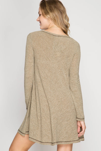 Oatmeal Long Sleeve Hacci Swing Dress (final sale)