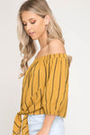 Cream Stripe Off The Shoulder Tie Front Top