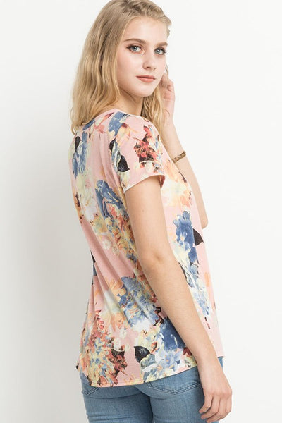 Pink Floral Short Sleeve Top
