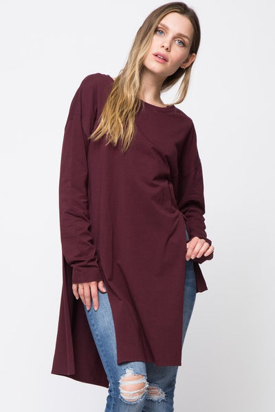 Wine Side Cutout Tunic (final sale)