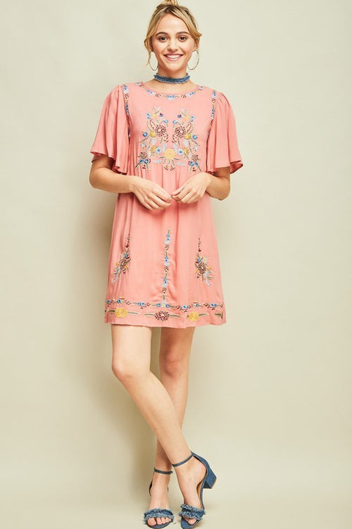 Coral Ruffle Sleeve Embroidered Shift Dress