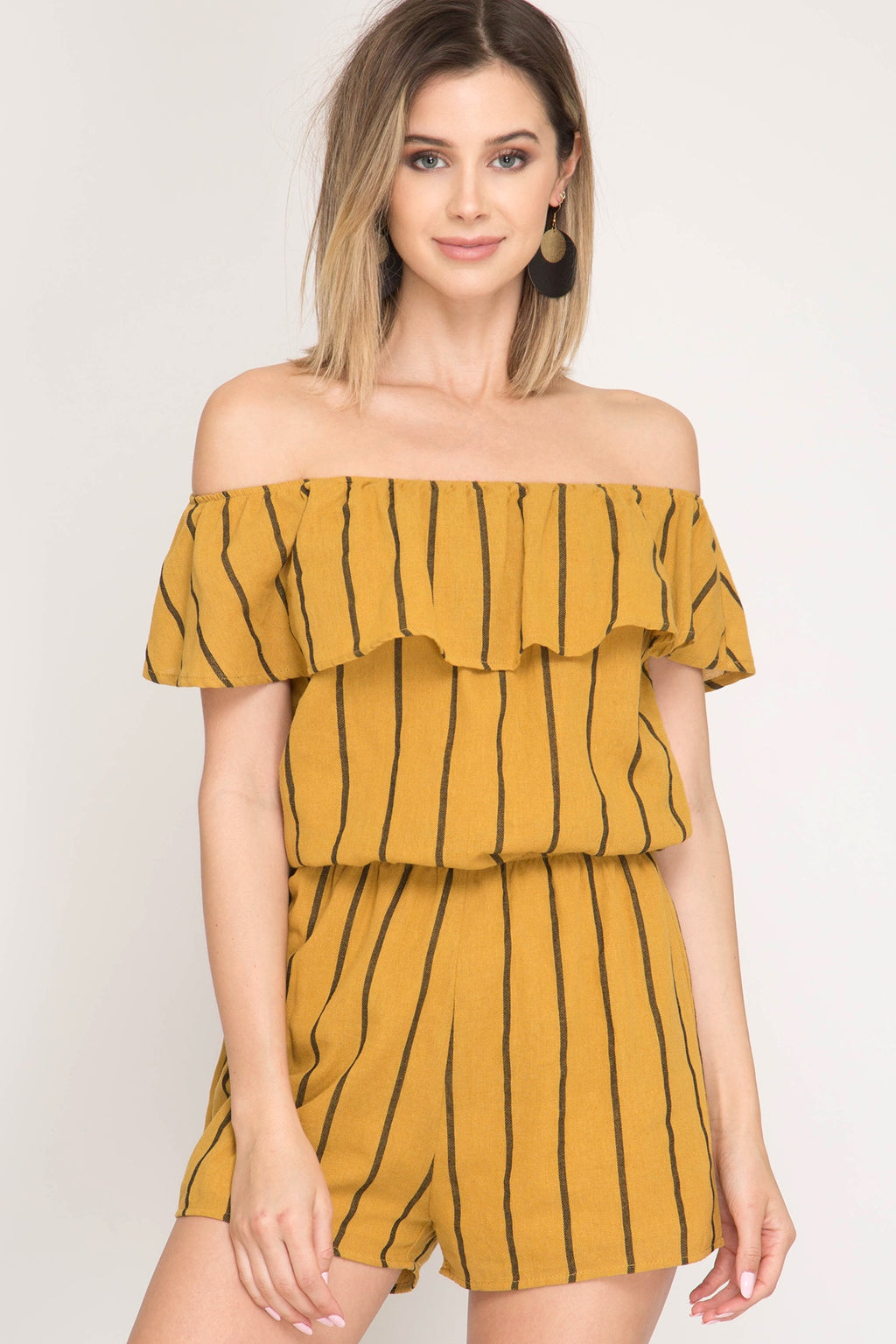 Mustard Striped Off Shoulder Romper