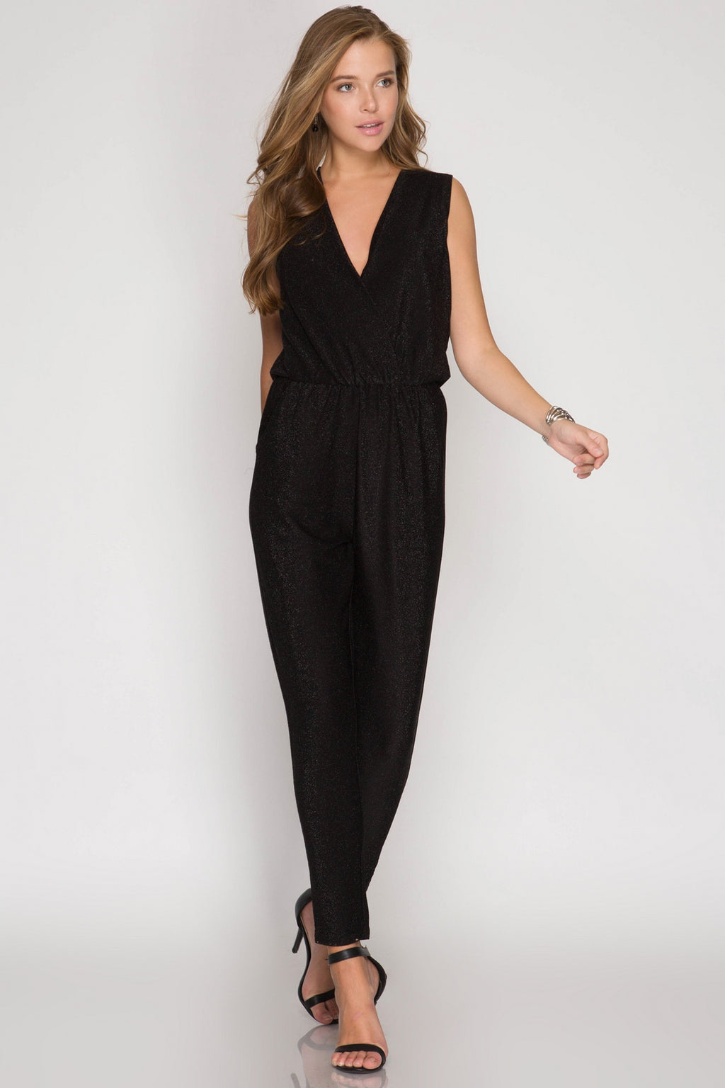 Metallic Black Sleeveless Jumpsuit
