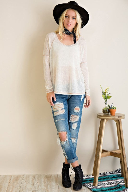 Oatmeal Reverse Stitched Slub Top (final sale)