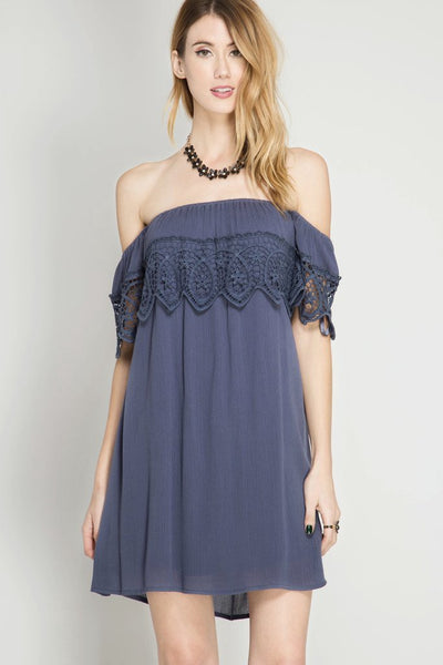 Navy Lace Off Shoulder Dress (final sale)