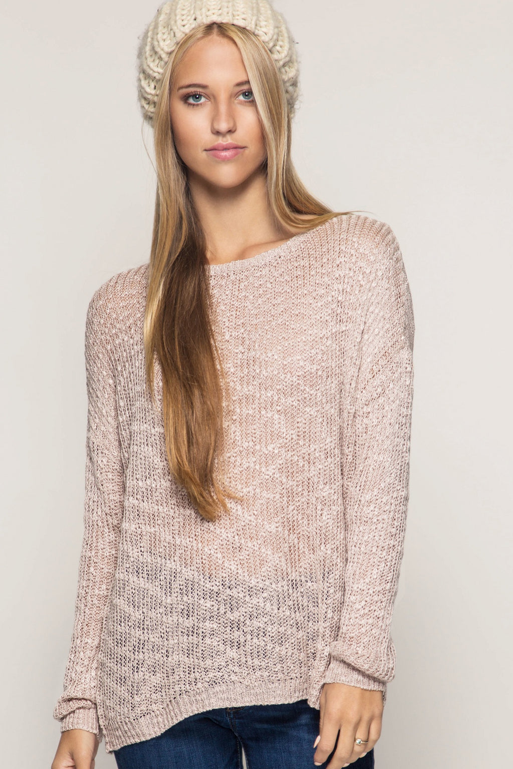 Taupe Slub Yarn Sweater