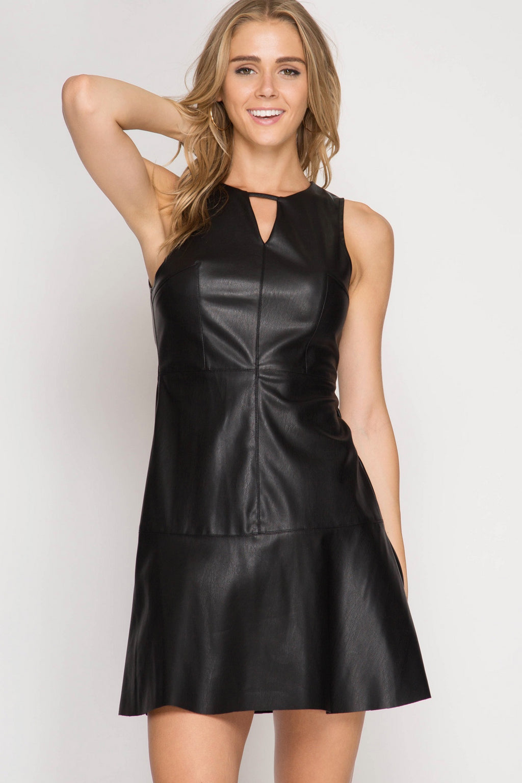 Black Faux Leather Trumpet Dress