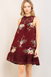 Burgundy Floral Lace Mock Neck Dress