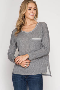 Grey French Terry Scoop Back Top