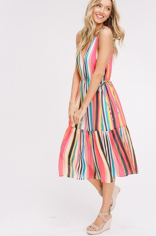 Tropical Stripe V-Neck Mid Dress