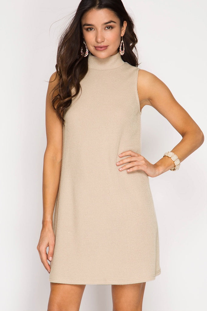 Light Taupe Sleeveless Mock Neck Dress