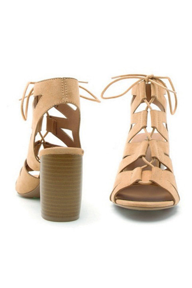 Toffee Lace Up Cage Sandal