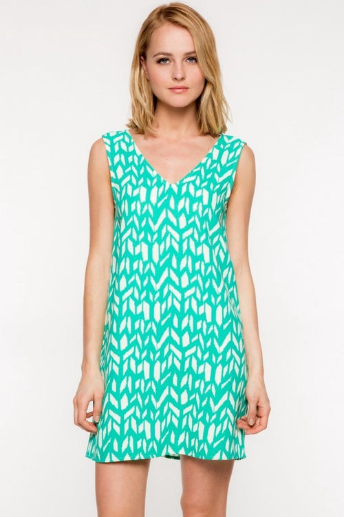 Emerald Geometric V-Neck Shift Dress (final sale)